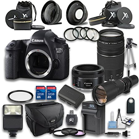 Canon 6D DSLR Camera + EF 50mm f/1 8 STM Lens +EF 75-300mm f/4-5 6 III Lens  + Preset 500mm f/8 Manual Focus Telephoto + Wideangle Lens + Telephoto