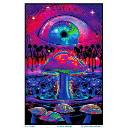 Mushrooms Black Light Poster 23 x 35