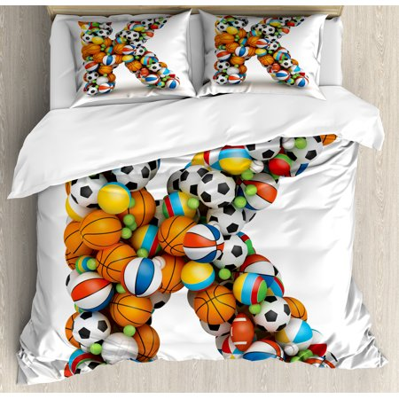 Letter K Duvet Cover Set, Alphabet Letter with Gaming Balls of Popular Sports Fun Initial Monogram Design, Decorative Bedding Set with Pillow Shams, Multicolor, by Ambesonne