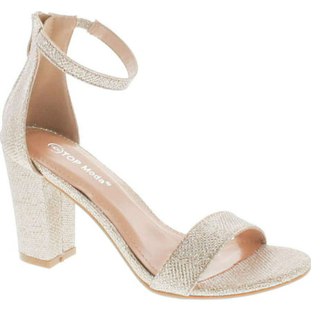 Top Moda Womens Hannah-1 Platform Chunky Heel Metallic Glitter Party Ankle Strap High Heel Sandal