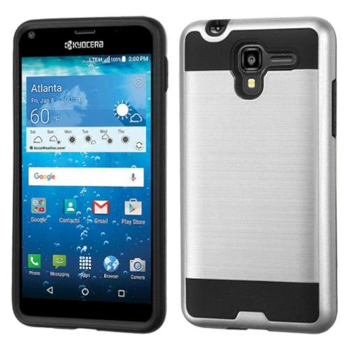 Insten Hard Dual Layer Case For Kyocera Hydro View - Silver/Black