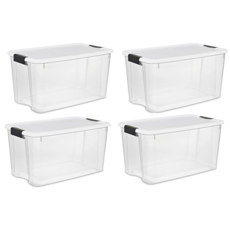 Sterilite Large 70 Qt Clear Base Ultra Latch Storage Container Box Tote (4