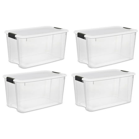 Sterilite Large 70 Qt Clear Base Ultra Latch Storage Container Box Tote (4 Pack)](Clear Storage Bins)