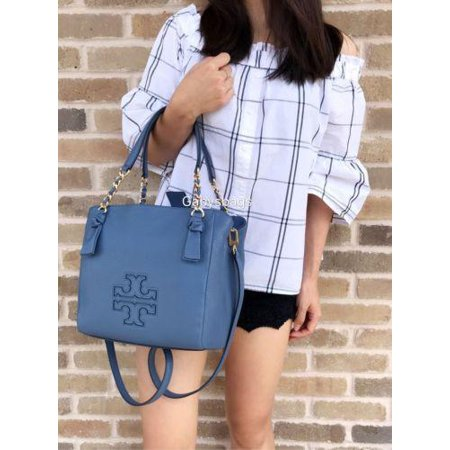 4a469301476b Tory Burch - NWT Tory Burch Harper Small Satchel Leather Handbag Tote  Wallis Blue Chain  395 - Walmart.com