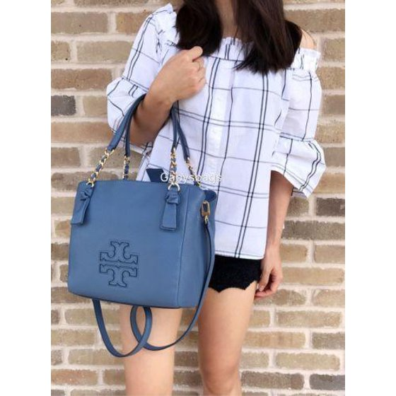 5139218b2a75c Tory Burch - NWT Tory Burch Harper Small Satchel Leather Handbag Tote  Wallis Blue Chain  395 - Walmart.com