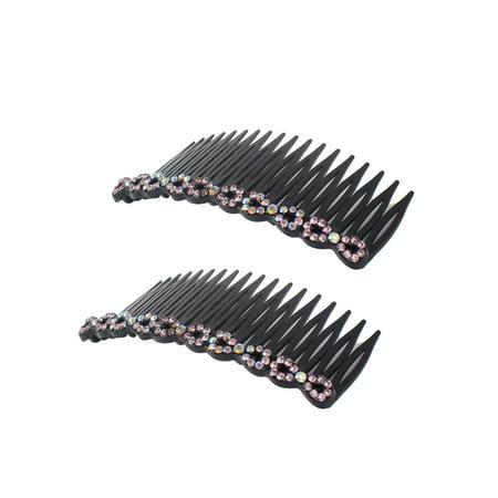 Women Plastic Rhinestone DIY Hair Style Comb Clip Slide Hairclip 2pc (Diy Halloween Hair Clips)