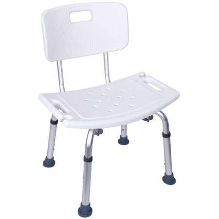 Everyday Essentials Adjustable Height Bath Shower Tub Bench Chair with Removable Back