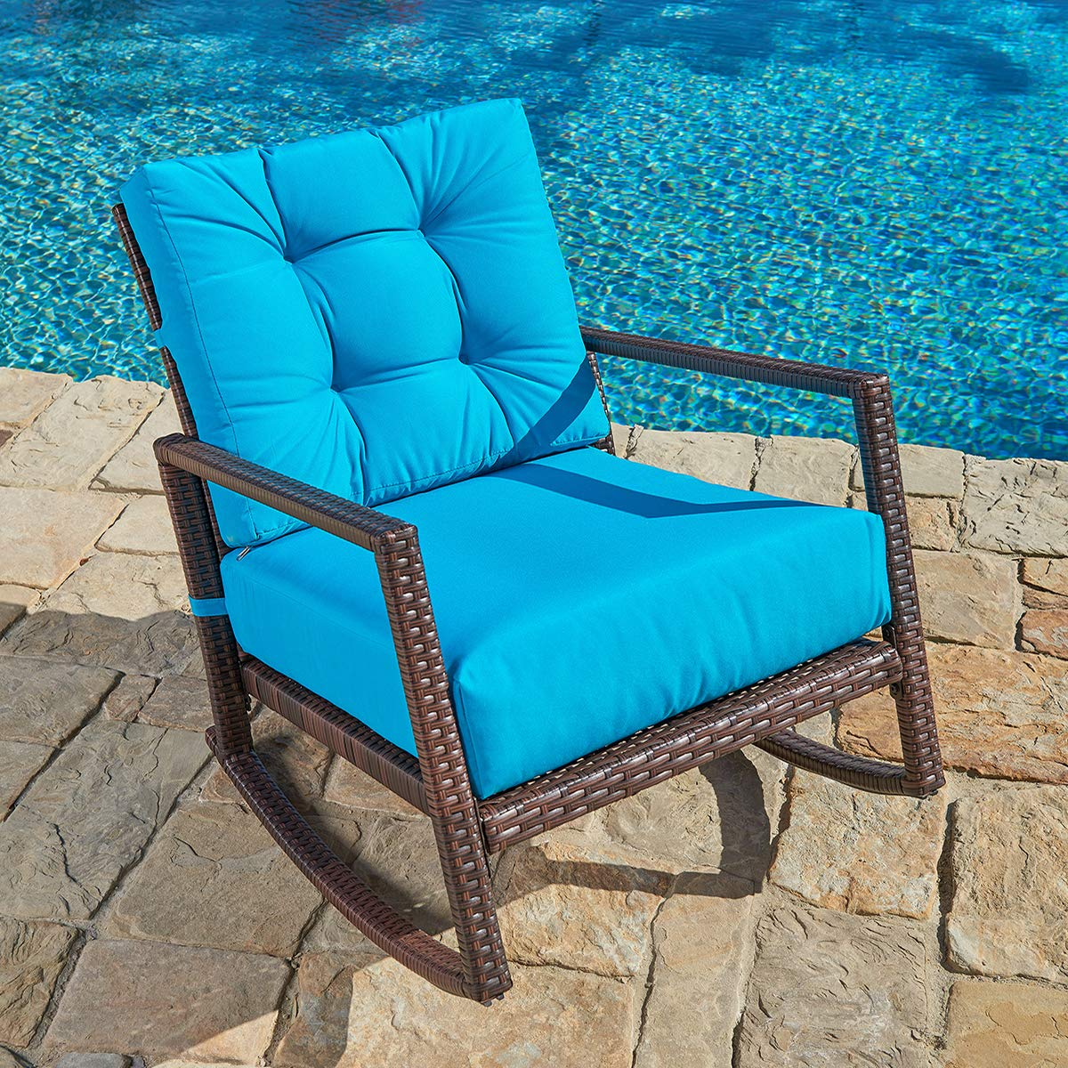 Exceptionnel SUNCROWN Patio Rocking Chair (1 Piece) Outdoor Furniture Teal Wicker Seat  With Thick, Washable Cushions | Backyard, Pool, Porch | Smooth Gliding ...