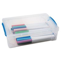 Advantus 37539 9 x 5.5 x 2.63 in. Super Stacker Large Pencil Box, Clear