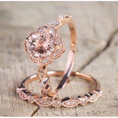 1.50 carat Round Cut Morganite and Diamond Halo Bridal Wedding Ring Set in Rose Gold: Bestselling Design Under Dollar