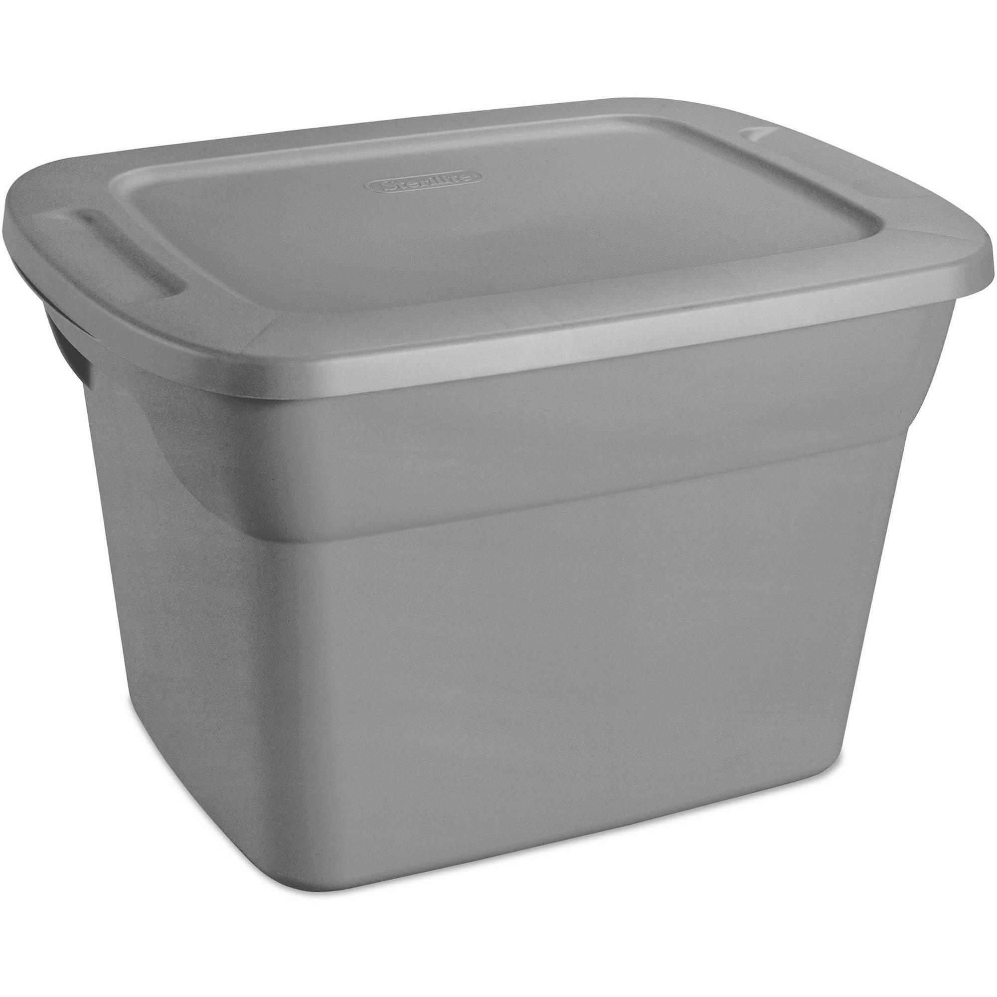 Sterilite 18 Gallon Tote Box- Steel (Available in Case of 8 or Single Unit)