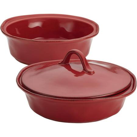 Rachael Ray Cucina Stoneware 3-Piece Round Casserole & Lid Set, Cranberry Red