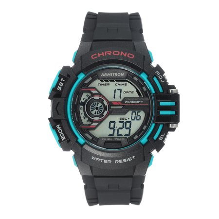 Mens Sports Black and Turquoise Resin Strap Round Watch