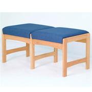 Wooden Mallet DW5-2LOPB Two Seat Bench in Light Oak - Powder Blue