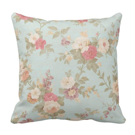 ARTJIA Vintage Roses Floral Shabby Chic Pink Rose Flowers Pillowcase Cushion Cover 16x16 inches