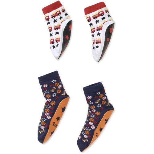 Rubberoos Baby Boys' Printed Skidder Socks, 2-Pack