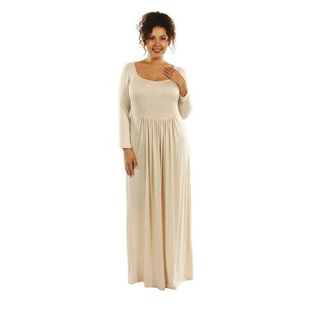 a09fa3078a3 Women s Plus Size Long Sleeve Square Neck Empire Waist Pleated Maxi Dress