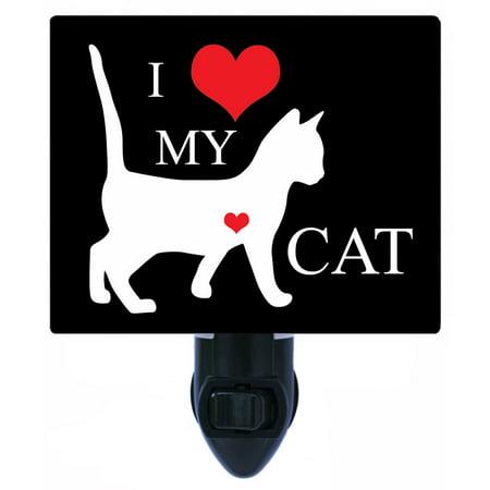 Night Light - Photo Light - I Heart Cat 2 - Love - Cats