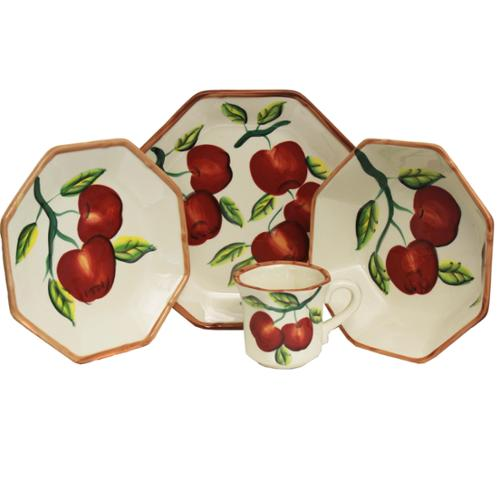 Apple Collection Hand-painted 16-Piece Dinner Set - Serving for 4