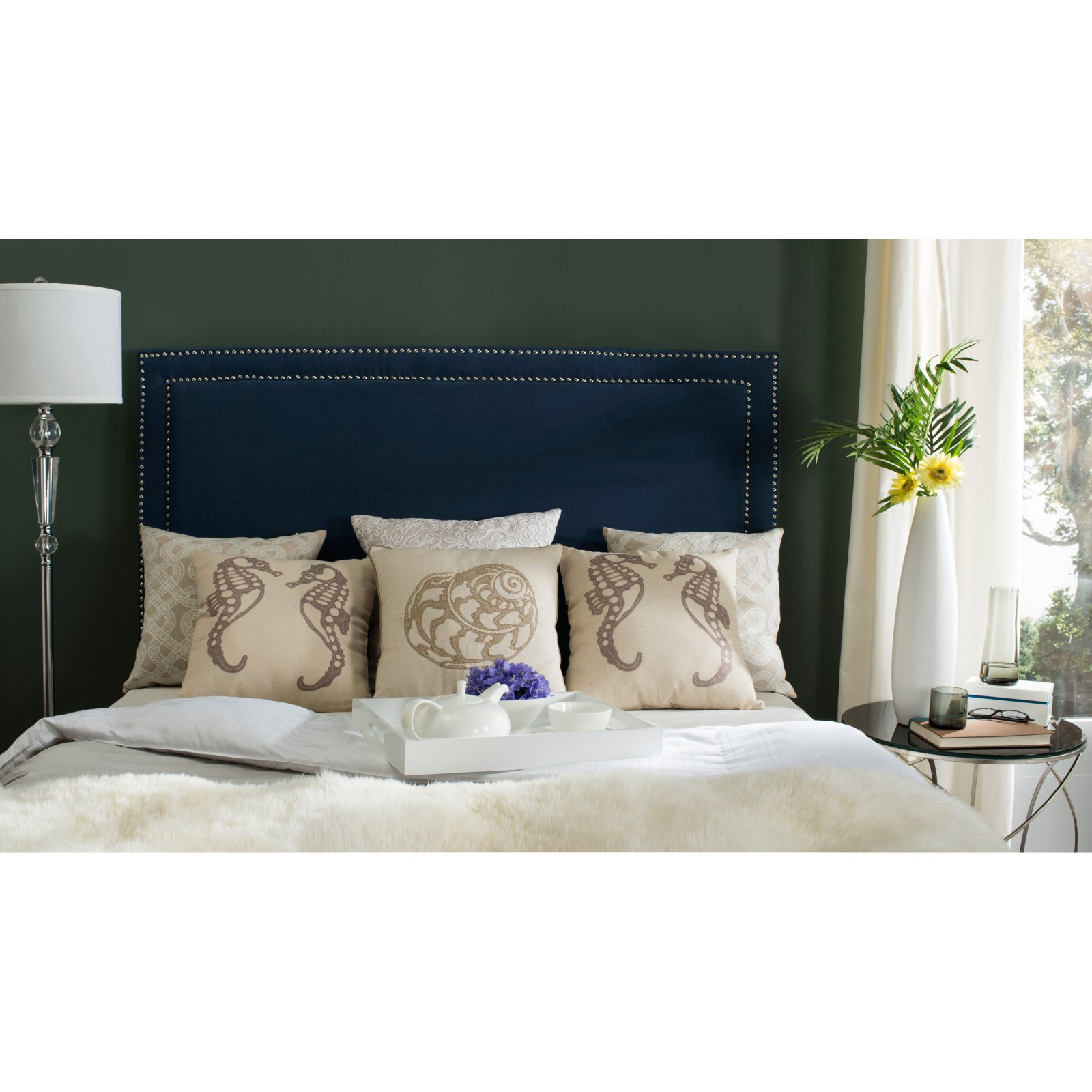 Safavieh Cory Headboard with Nailheads, Available in Multiple Colors and Sizes