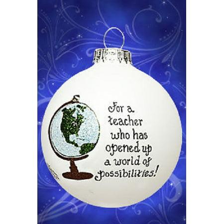Teacher Globe Christmas Glass Ornament Made in USA Teaching Decoration Gift Idea - Christmas Ornaments Ideas