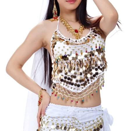 Belly Dance Crop (BellyLady Tribal Belly Dance Halter Banadge Bra Top With Pad-White )