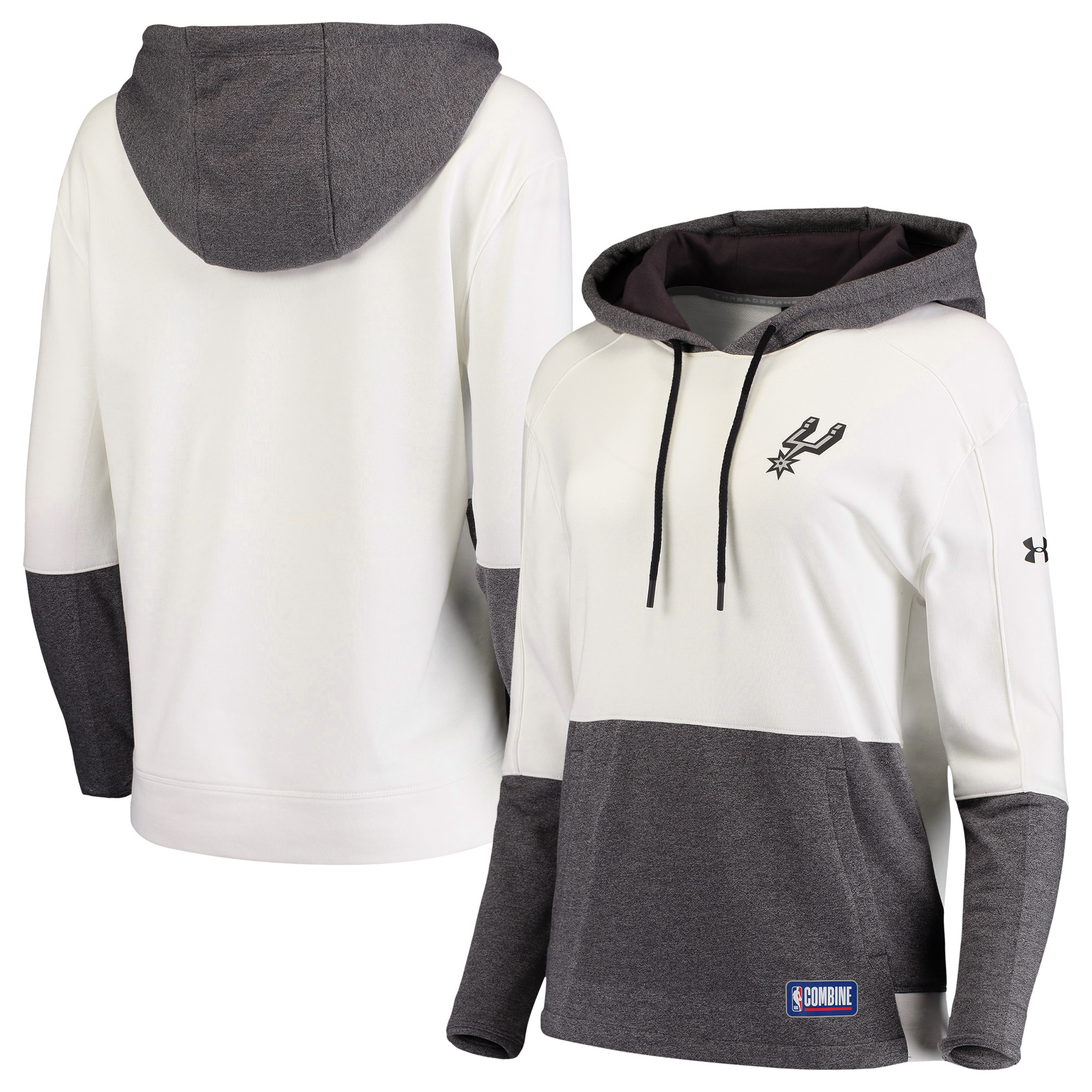 San Antonio Spurs Under Armour Women's Combine Authentic Baseline Layer Threadborne Hoodie - White/Gray