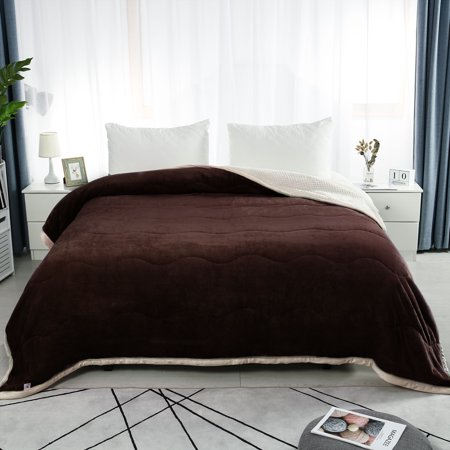 "Warm 3 Layers Solid Soft Thick Fleece Bed Blanket Queen 78x90"" Coffee Color"