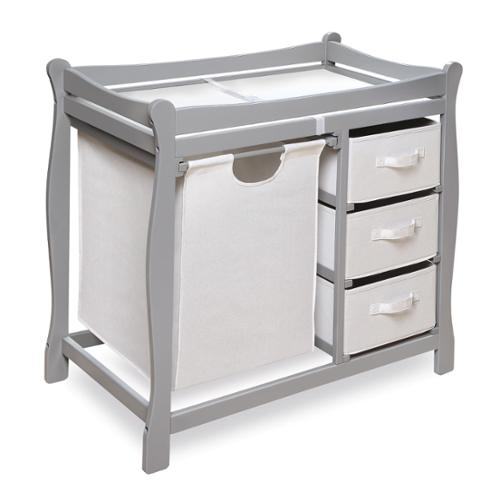 Badger Basket Grey Sleigh Changing Table with Hamper and Baskets by Badger Basket