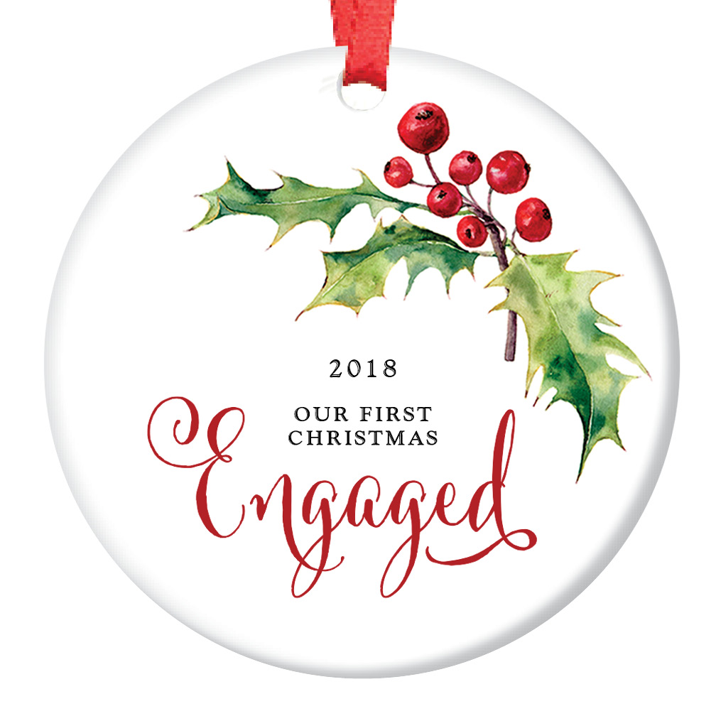 "Our First Christmas Engaged Ornament 2018, Holly Berry Engagement Gift Porcelain Ornament, 3"" Flat Circle Christmas Ornament with Glossy Glaze, Red Ribbon & Free Gift Box 