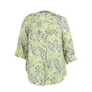 JM Collection Women's 100% Linen Ikat Print Blouse (14W, Fun Ikat Lime)