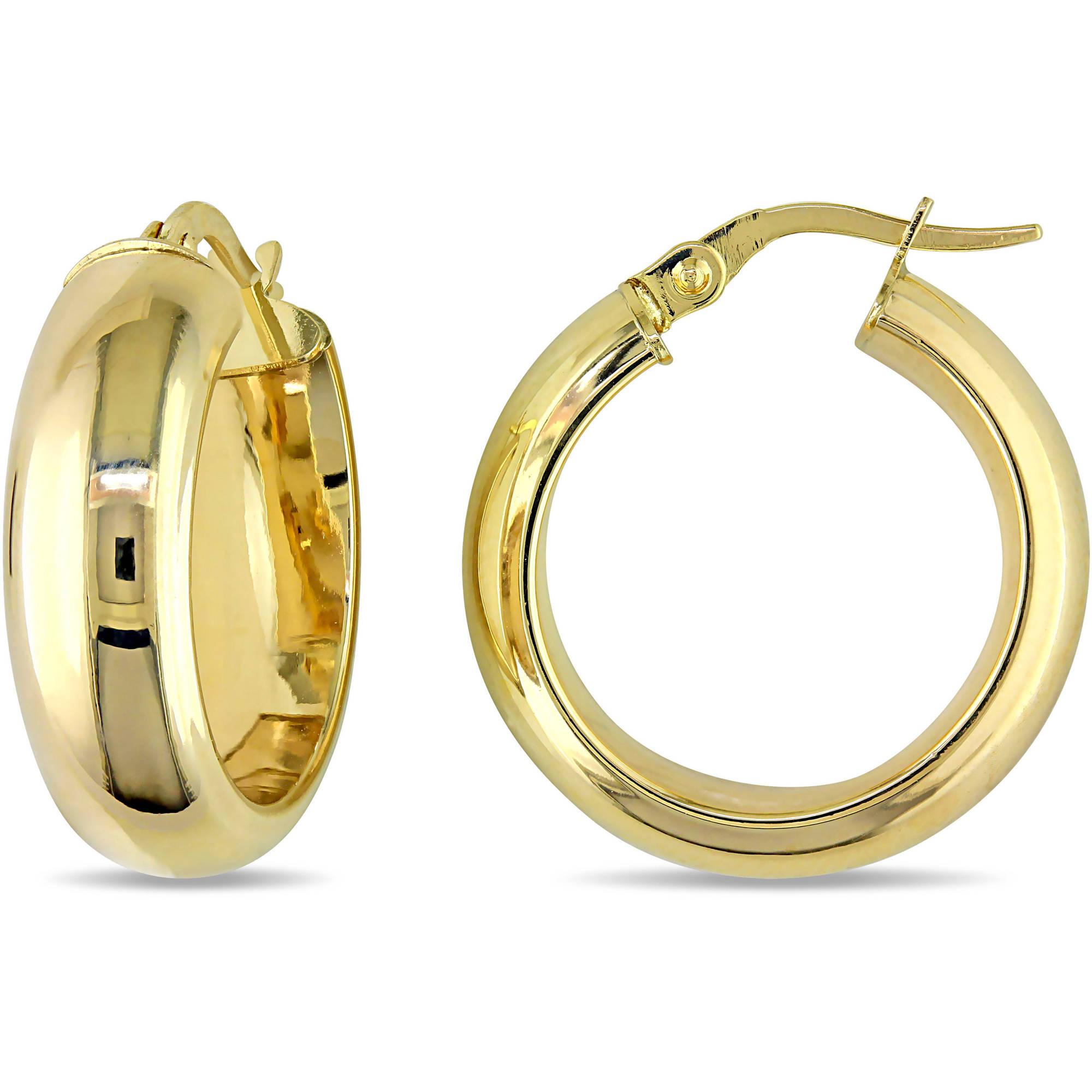 Classic 10 Karat Yellow Gold Hoop Earrings 20mm Diameter Walmart Com