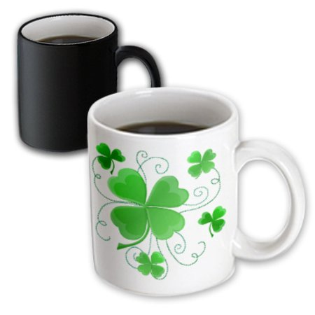 3dRose This design is of some lucky Shamrocks just in time for St Patricks Day, Magic Transforming Mug, - Lucky Shamrock