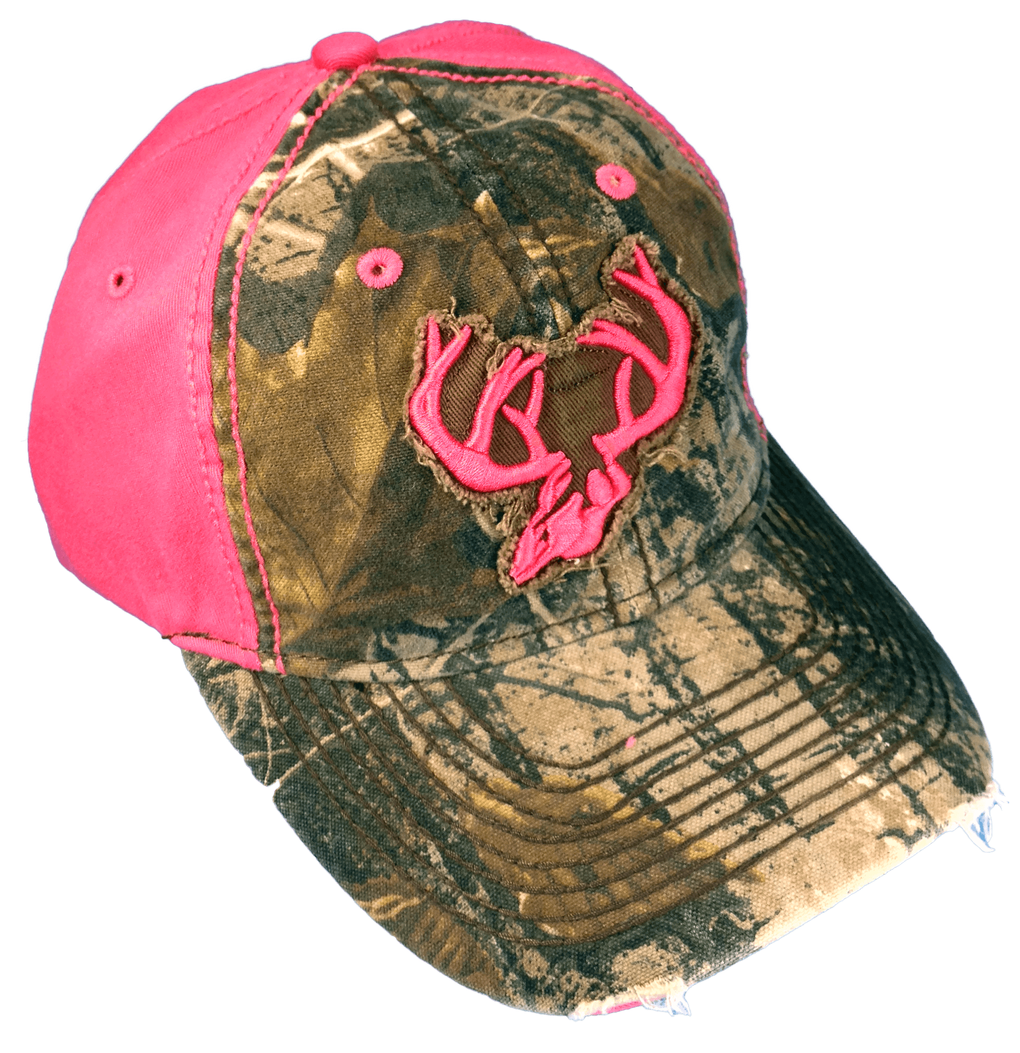 Team Realtree Woman's Camo Cap Pink Deer Horns and back with Real Tree Camo front
