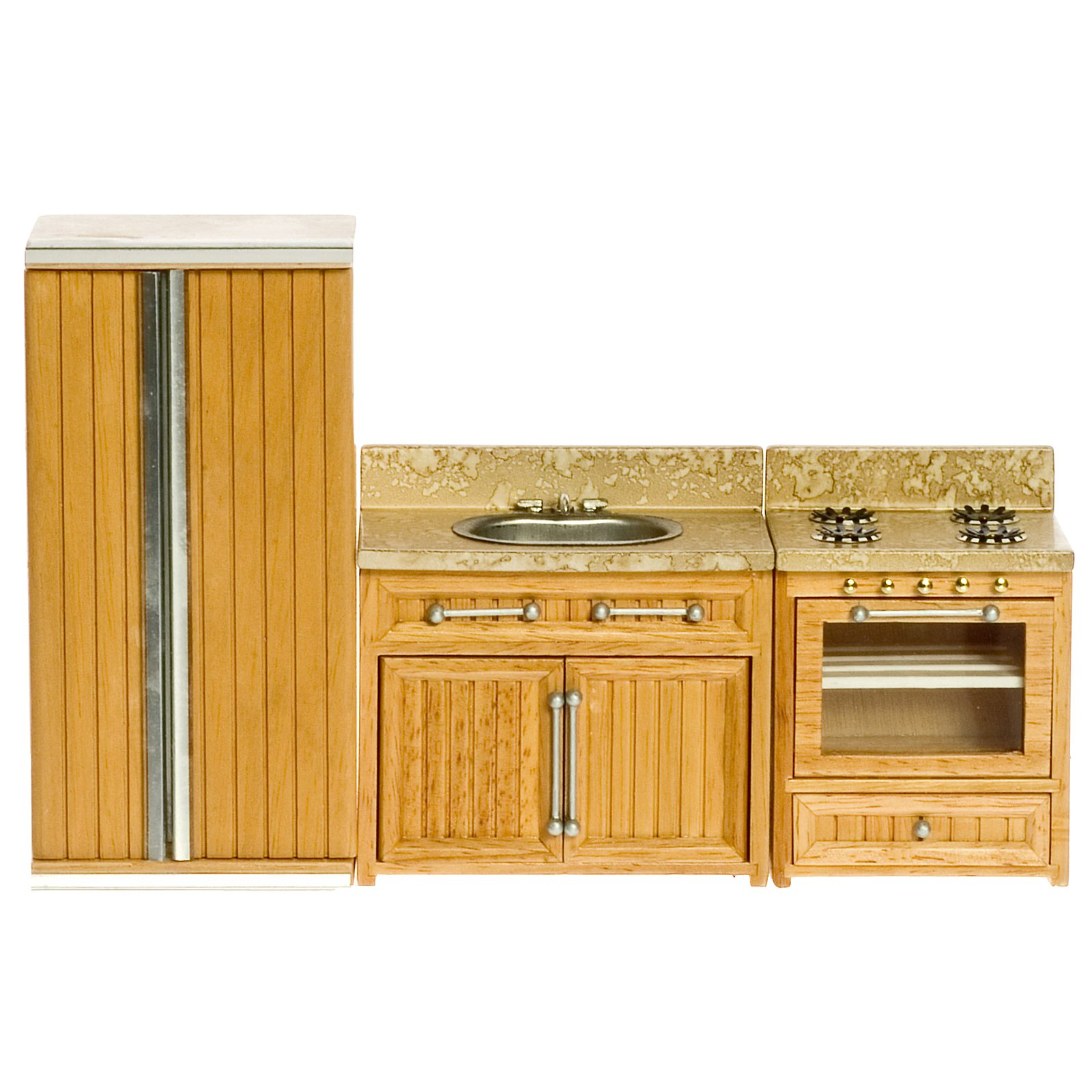 Oak Kitchen Appliance Dollhouse Miniature Set