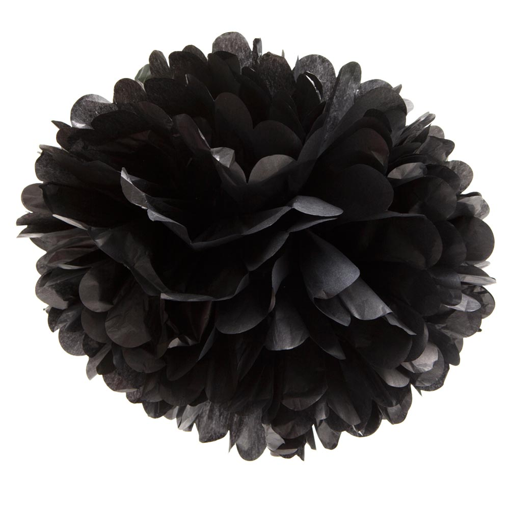Tissue Paper Pom Pom, 16 in, Black, 1ct