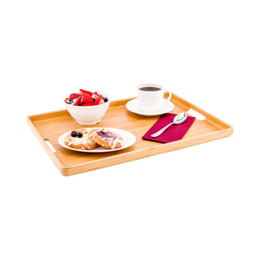 12-1ct Box Bamboo Serving Board Round Bamboo Serving Tray Restaurantware