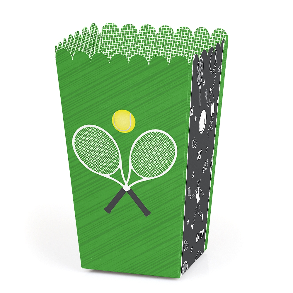 You Got Served - Tennis - Baby Shower or Tennis Ball Birthday Party Favor Popcorn Treat Boxes - Set of 12