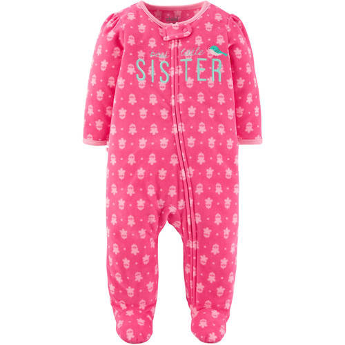 Child of Mine by Carter's Newborn Baby Girl Microfleece Zip Up Sleep 'N Play