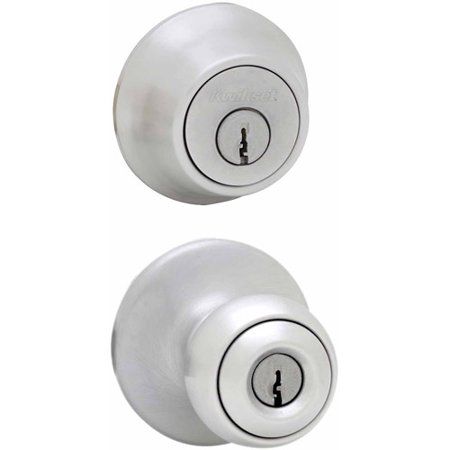 Fancy Double Leaf Knob - Kwikset 96950-162 Satin Chrome Entry Knob with Double Cylinder Deadbolt Pack