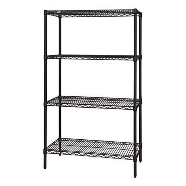 Quantum Storage WR86-1824BK Wire 4 Shelf Starter Kit, Black - 18 x 24 x 86 in.