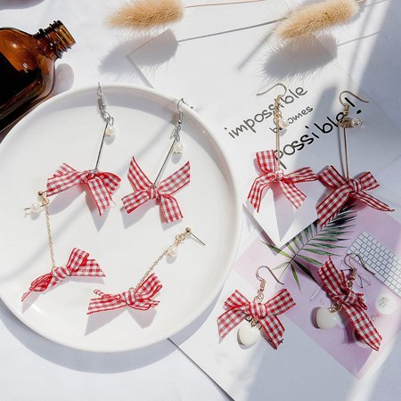 Korean Version Of The Simple Bow Cold Style Earrings Ladies Creative Personality Wild Plaid Hong Kong Style Net Red Earrings - image 4 of 7