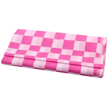 Kitchen Lattice Shape Wipe Clean Plastic Tablecloth Cover Plaid Pink 1.4 x 2.7M (Pink Paper Tablecloth)