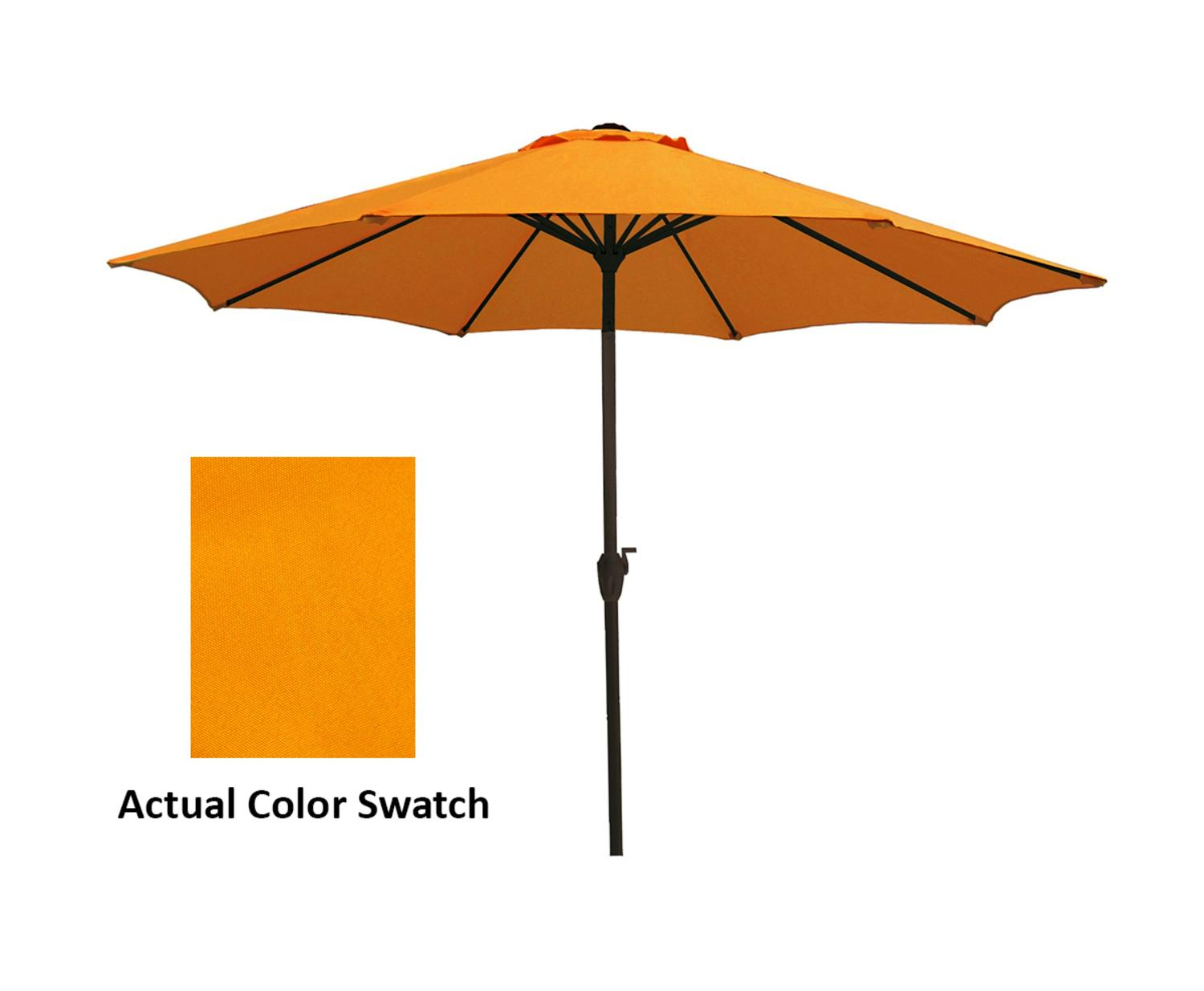 9' Outdoor Patio Market Umbrella with Hand Crank and Tilt Marigold Yellow by LB International