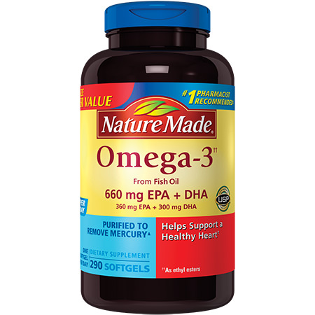 Nature Made Omega-3 from Fish Oil Softgels, 660 Mg EPA+DHA, 290 Ct