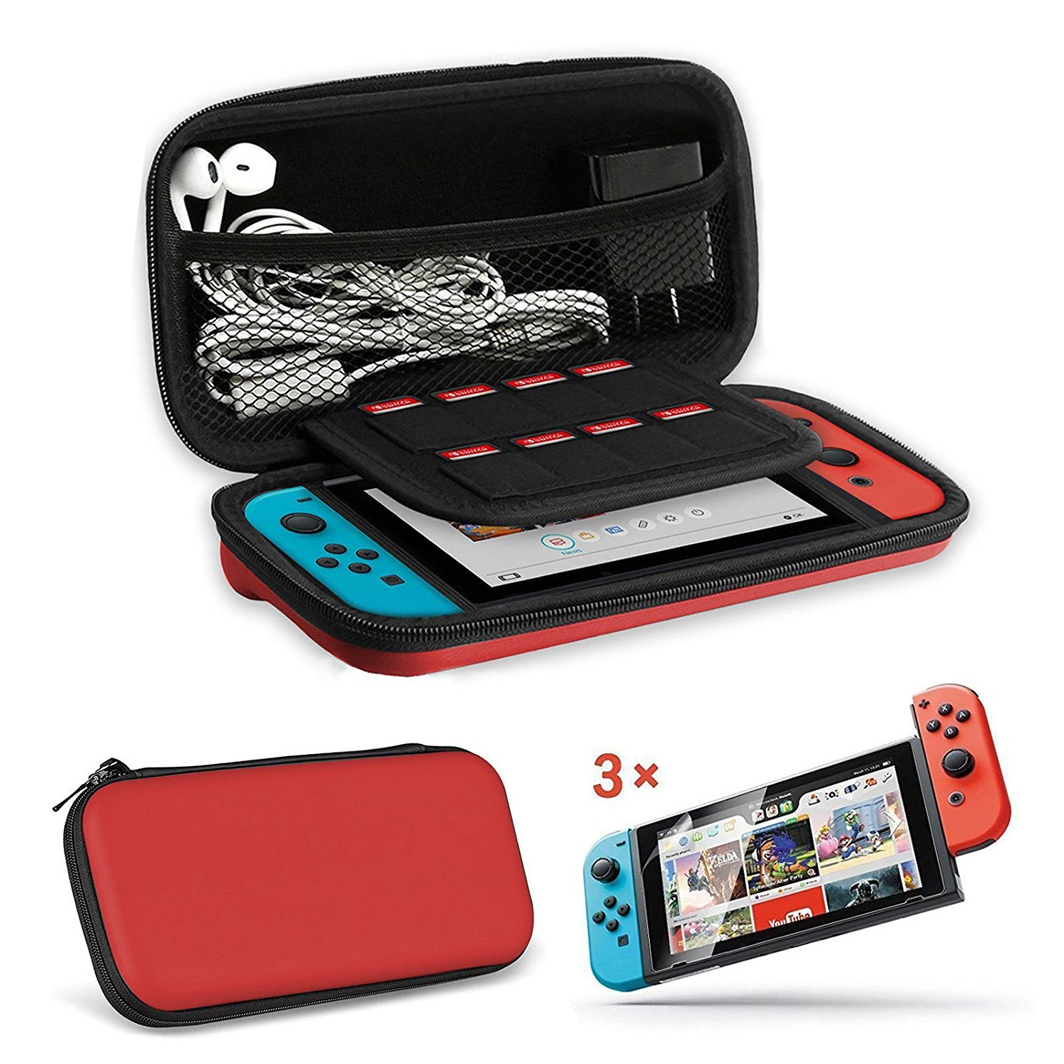EEEKit 2in1 Starter Kit for Nintendo Switch, Carrying Travel Hard Shell Case w/ Game Cartridge Holder + 3 Pcs Clear HD F