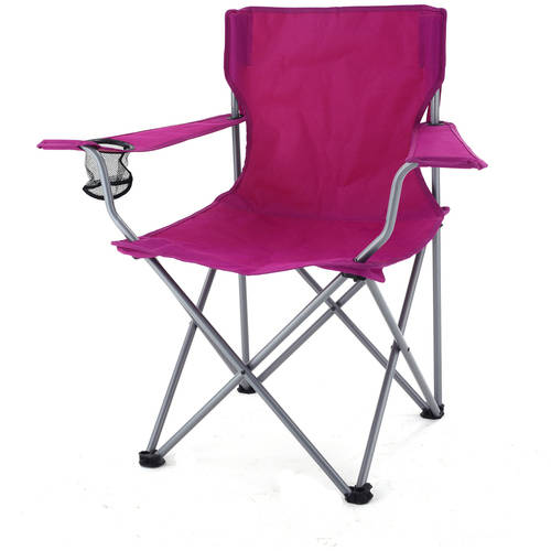 Ozark Trail Folding Chair with Built-In Cup Holder, Raspberry