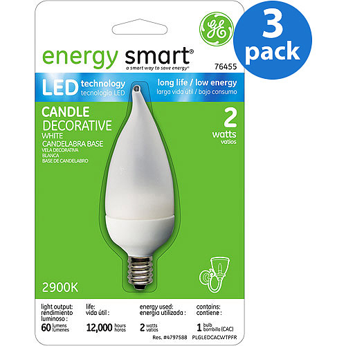 GE LED Accent Deco Sm Base White - 3 bulbs