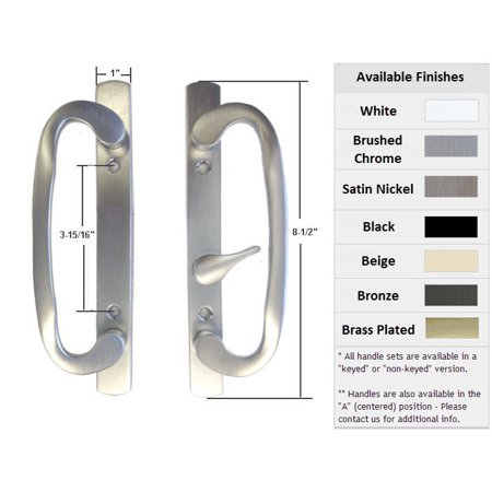 Sliding Glass Patio Door Handle Set, Mortise Type, B-Position, Latch Lever is Off-Centered, Non-Keyed, Brushed Chrome, 3-15/16