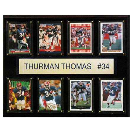 (C and I Collectables NFL 15W x 12H in. Thurman Thomas Buffalo Bills 8 Card Plaque)